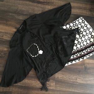 Zara black layered look fringed top
